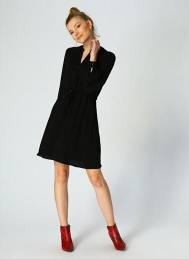House Of Camellia Uzun Kollu Beli Büzgülü Elbise Siyah